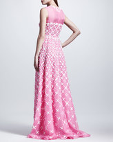 Valentino Macrame-Embroidered Organza Gown, Framboise
