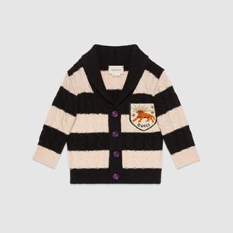 Gucci Baby wool striped cardigan with patch