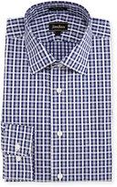 Neiman Marcus Classic-Fit Regular-Finish Plaid Dress Shirt, Blue