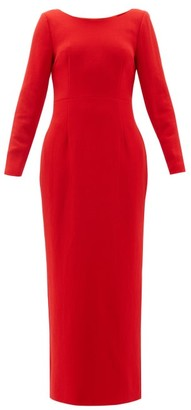Rebecca De Ravenel Jamie Scoop-neck Wool-crepe Maxi Dress - Red