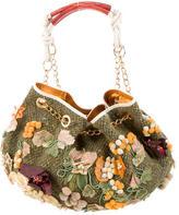 Etro Tweed Appliqué Drawstring Bag