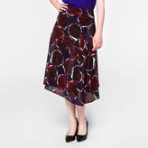 Paul Smith Women's Navy 'Rose' Print Silk Skirt