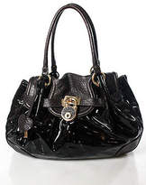 Moschino Brown Patent Leather Satchel Shoulder Handbag New Without Tags