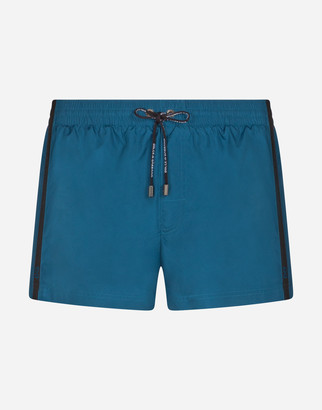 Dolce & Gabbana Short Swimming Trunks With Logoed Ribbon Ties