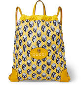 Gucci Leather-Trimmed Printed Canvas Drawstring Backpack