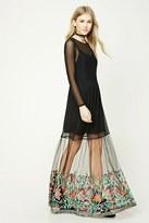 Forever 21 FOREVER 21+ Embroidered Mesh Overlay Dress
