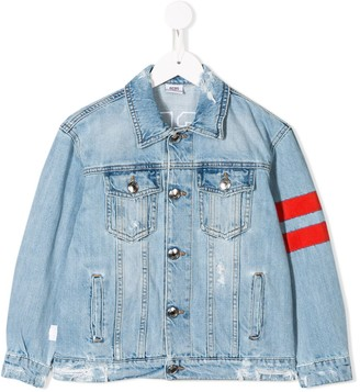Gcds Kids Contrasting Stripes Denim Jacket