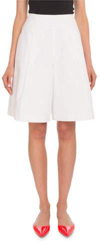 DELPOZO Pleated Cotton Poplin Knee-Length Bermuda Shorts