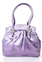 Lulu Guinness Lavender Satin Jeweled Bow Detail Tote Handbag
