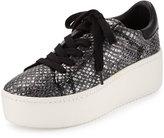 Ash Cult Snake-Embossed Platform Sneaker, Pewter/Black