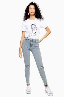 Topshop Womens Bleach Rip And Rip Hem Jamie Jeans - Bleach Stone
