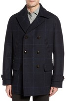 Luciano Barbera Men's Wool Plaid Peacoat