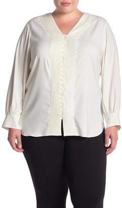 T Tahari Pintuck V-Neck Long Sleeve Blouse (Plus Size)