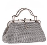 Prettybag Beaded Sequined Design Metal Satin Interior Evening Clutch Silver