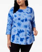 Calvin Klein Plus Size Tie-Dyed Drop-Shoulder Top