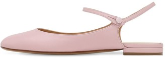 Francesco Russo 10mm Leather Mary Jane Ballerinas