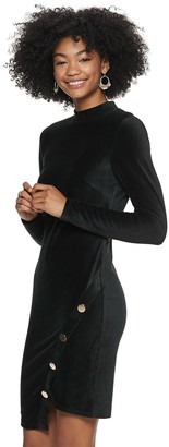 Almost Famous Juniors' Long Sleeve Mock Neck Bodycon
