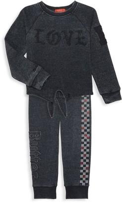 Butter Shoes Little Girl's 2-Piece Embellished Sweatshirt & Joggers Set