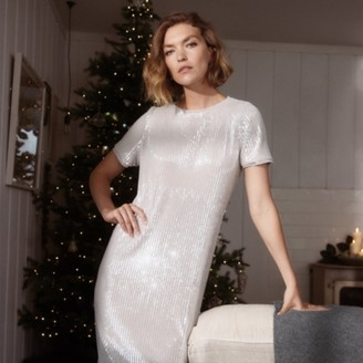 The White Company Sequin T-Shirt Dress, Pale Grey, 8