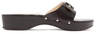 STAUD Erin Buckled Snake Effect Leather Platform Slides - Womens - Black