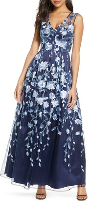 Brinker & Eliza Floral Embroidered A-Line Mesh Gown
