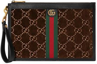 Gucci Men's GG Velvet Wristlet Pouch Bag