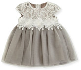 Miniclasix Cap-Sleeve Lace & Glitter Tulle Dress, Size 3-24 Months