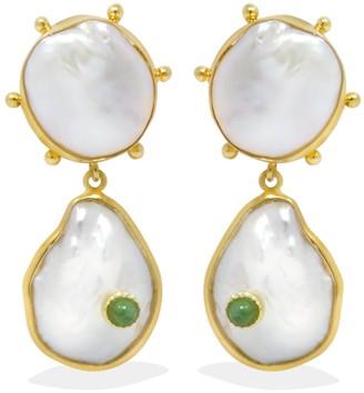 Vintouch Italy Rebel Rebel Pearl & Emerald Statement Earrings