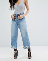 Missguided Mid Rise Wide Leg Busted Hem Jean