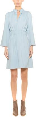 Tibi Weston Knit Mini Zip Up Shirred Dress