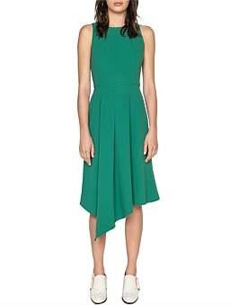 Cue Crepe Asymmetric Hem Midi Dress