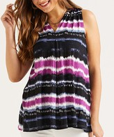 Suzanne Betro Weekend Women's Tunics 101DUSTY - Dusty Blue & Fuchsia Pleated V-Neck Sleeveless Tunic - Women & Plus