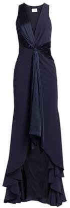 Cinq à Sept Iris Plunging Twist High-Low Gown
