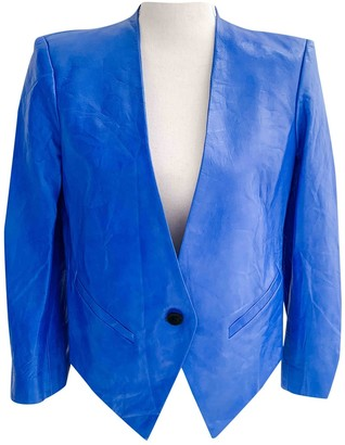 Helmut Lang Blue Leather Jackets
