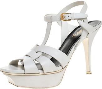 Saint Laurent Paris White Leather Tribute Platform Ankle Strap Sandals Size 36.5