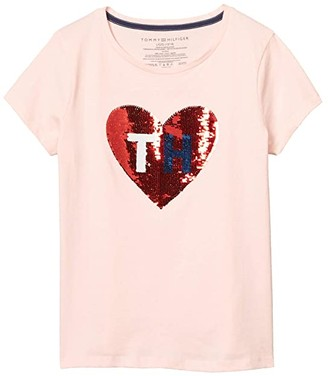 Tommy Hilfiger Flippable Sequin Heart Tee (Big Kids) (Crystal Rose) Girl's Clothing