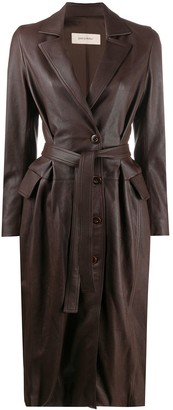 Gentry Portofino Belted Leather Coat
