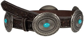 Ariat 1 1/4 Pierced Inlay Concho Belt (Tan/Turquoise) Women's Belts