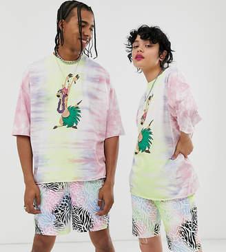 Asos Design Disney The Lion King x DESIGN oversized t-shirt in tye dye Timon print-Multi