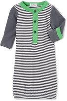 Gray & Green Stripe Henley Gown - Infant