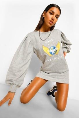boohoo Puff Sleeve Graphic Sweatshirt Dress