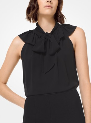 Michael Kors Collection Silk-Georgette Ruffled Tie-Neck Blouse