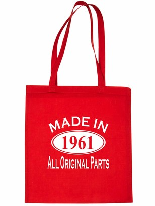 Print4u Shopping Tote Bag For Life Made In 1961 60th Birthday Red