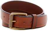 Boconi Cut Edge Single Stitch Leather Belt