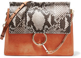 Chloé Faye Medium Python, Suede And Leather Shoulder Bag - Tan