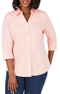 Foxcroft Plus Paityn Three-Quarter Sleeve Poplin Shirt