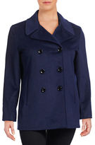 Calvin Klein Plus Wool-Cashmere Blend Peacoat