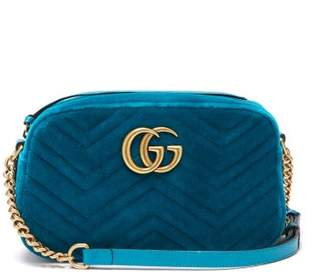 Gucci Gg Marmont Quilted Velvet Cross Body Bag - Womens - Green