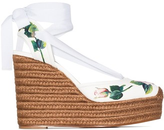 Dolce & Gabbana 130mm Rose-Print Leather Espadrilles
