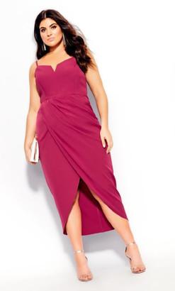 City Chic Sassy Notch Neck Dress - rosebud